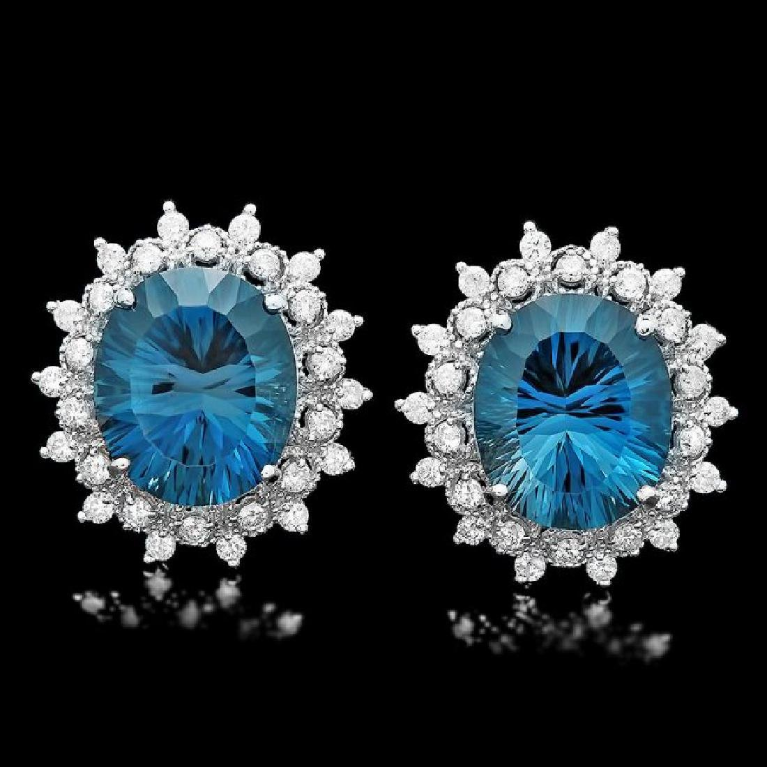 14k Gold 17.00ct Topaz 1.40ct Diamond Earrings