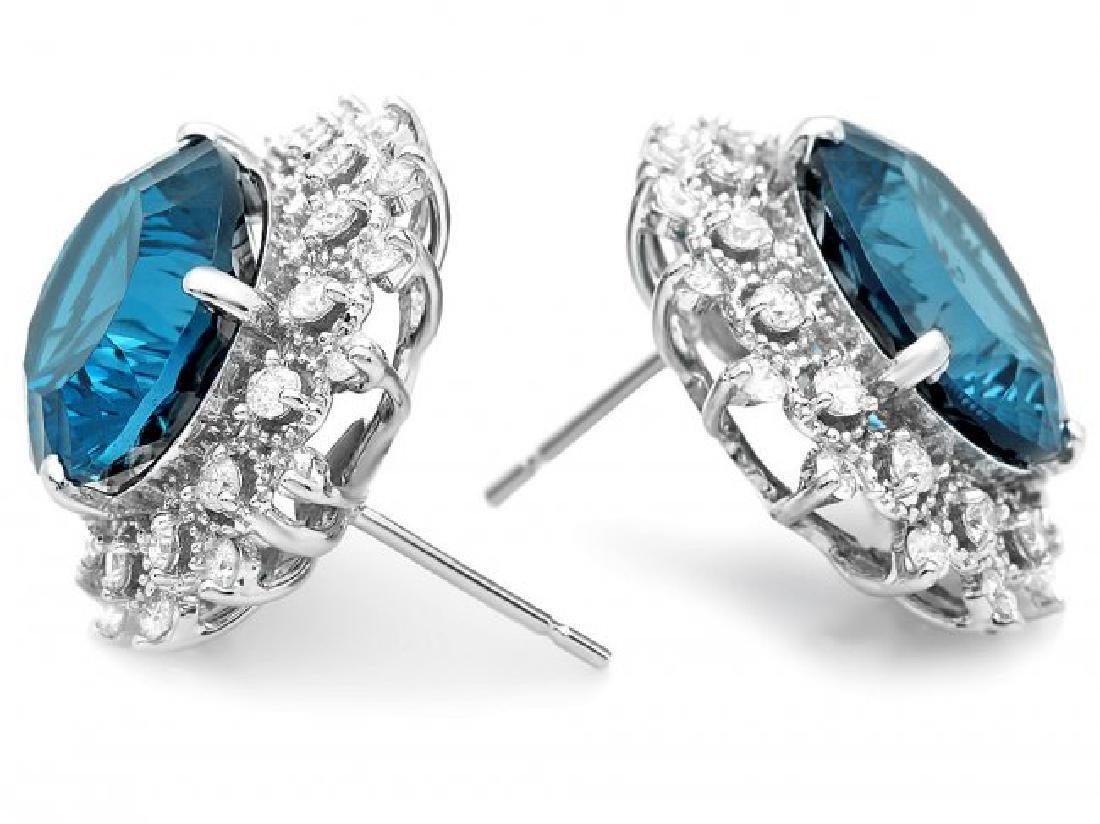 14k Gold 17.00ct Topaz 1.40ct Diamond Earrings - 2