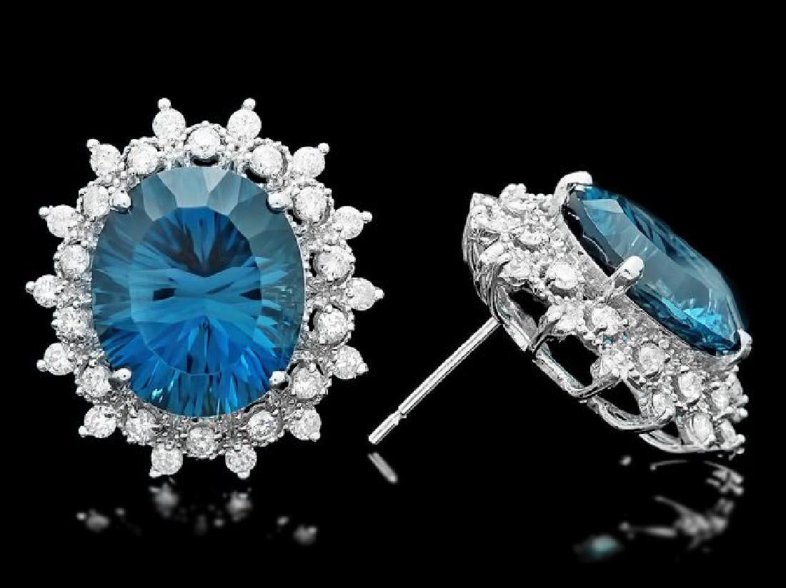 14k Gold 17.00ct Topaz 1.40ct Diamond Earrings - 3