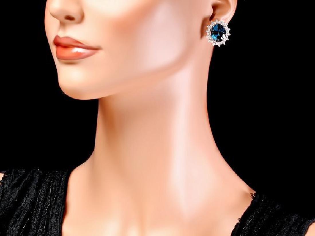 14k Gold 17.00ct Topaz 1.40ct Diamond Earrings - 4