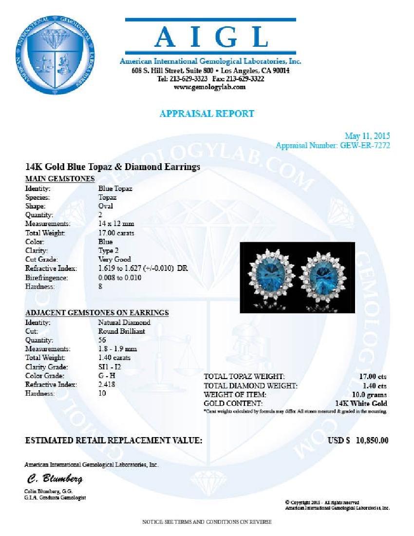 14k Gold 17.00ct Topaz 1.40ct Diamond Earrings - 5