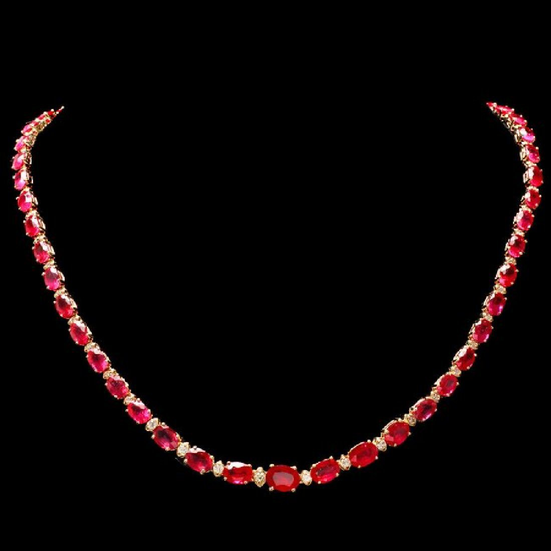 14k Gold 37.00ct Ruby 1.15ct Diamond Necklace
