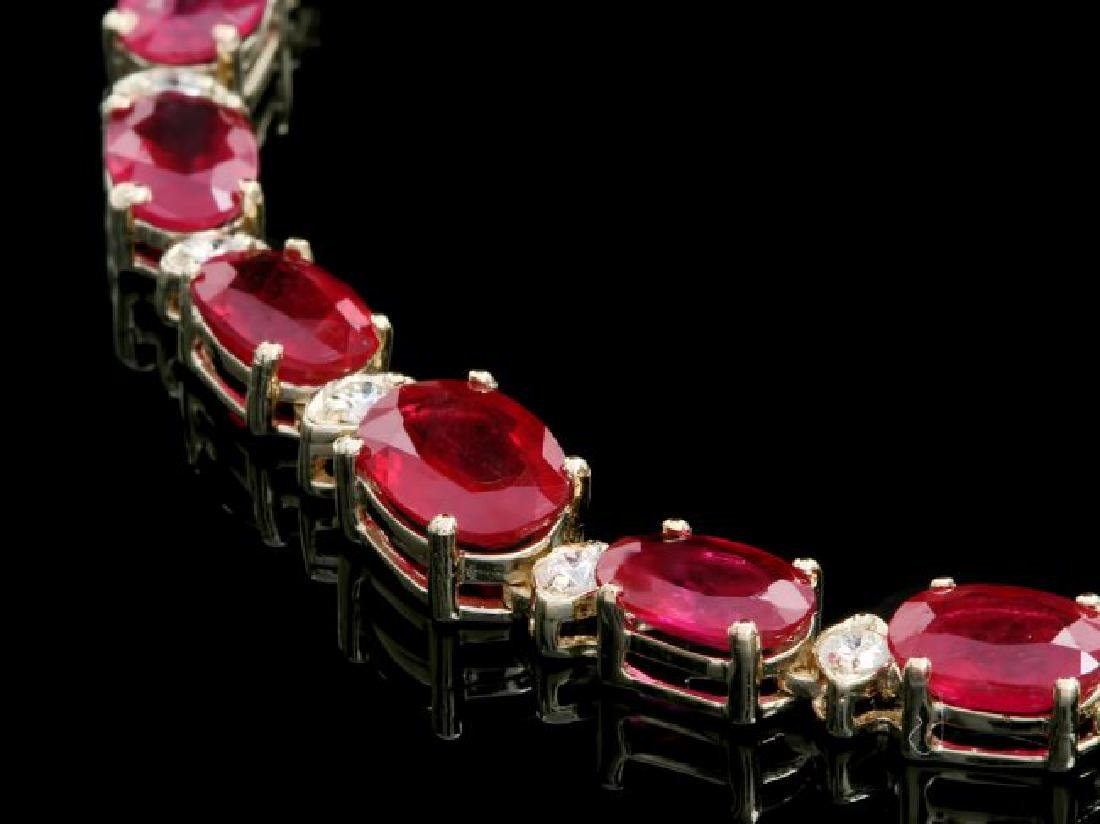 14k Gold 37.00ct Ruby 1.15ct Diamond Necklace - 2