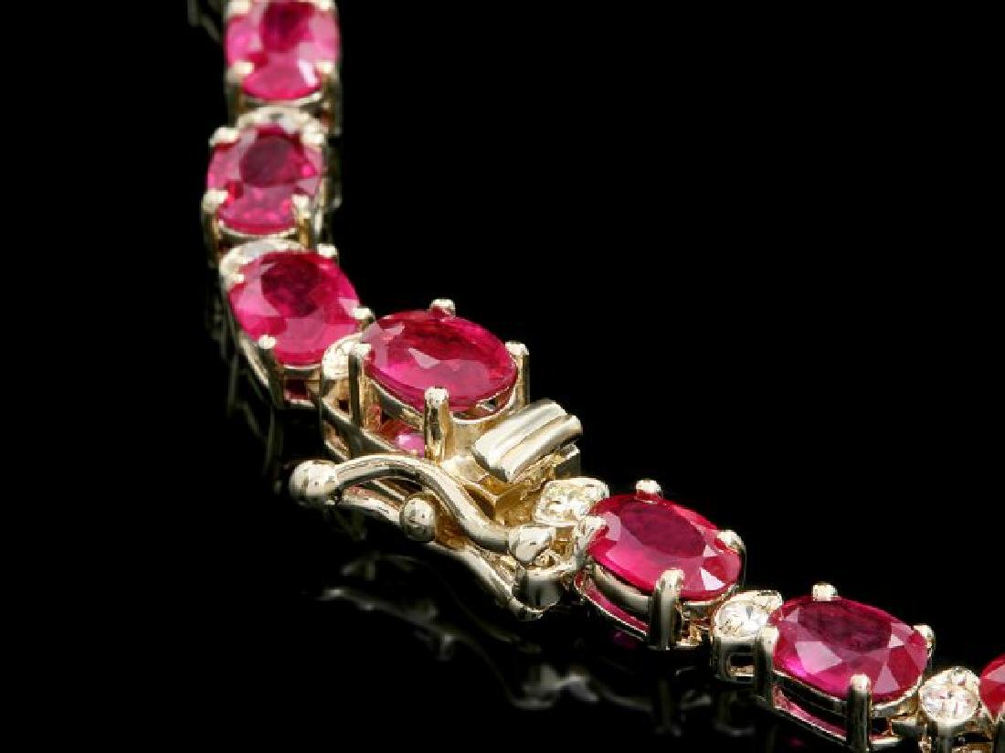 14k Gold 37.00ct Ruby 1.15ct Diamond Necklace - 3