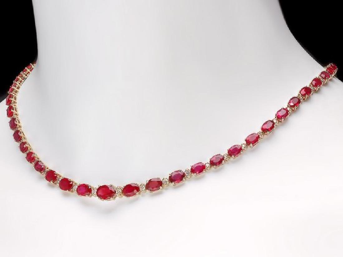 14k Gold 37.00ct Ruby 1.15ct Diamond Necklace - 5