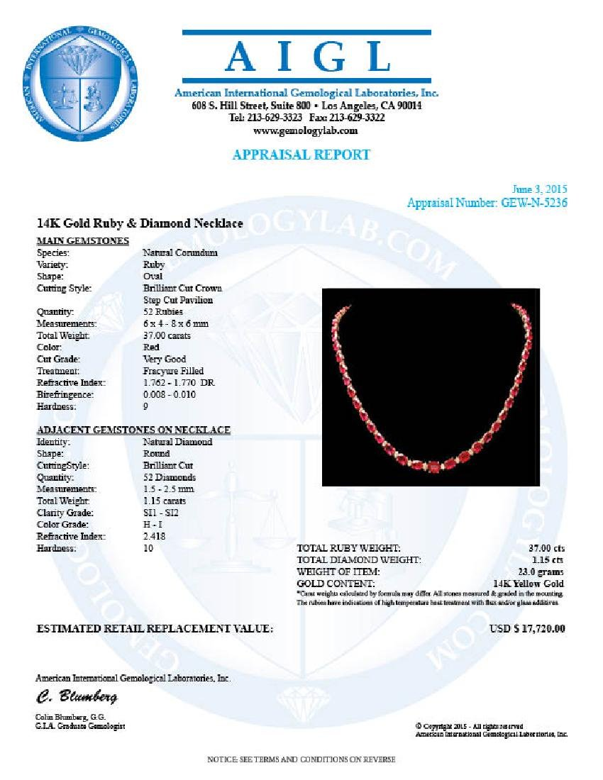 14k Gold 37.00ct Ruby 1.15ct Diamond Necklace - 6