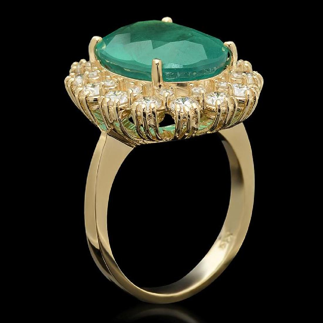14K Gold 6.80ct Emerald 1.42ct Diamond Ring - 2