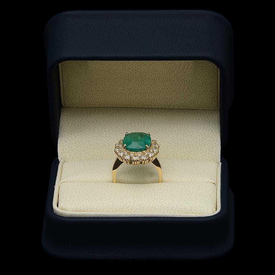 14K Gold 6.80ct Emerald 1.42ct Diamond Ring - 3