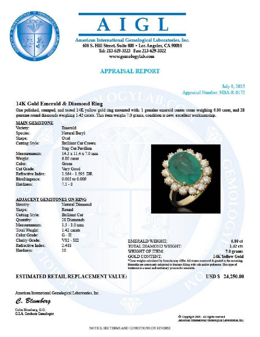 14K Gold 6.80ct Emerald 1.42ct Diamond Ring - 4