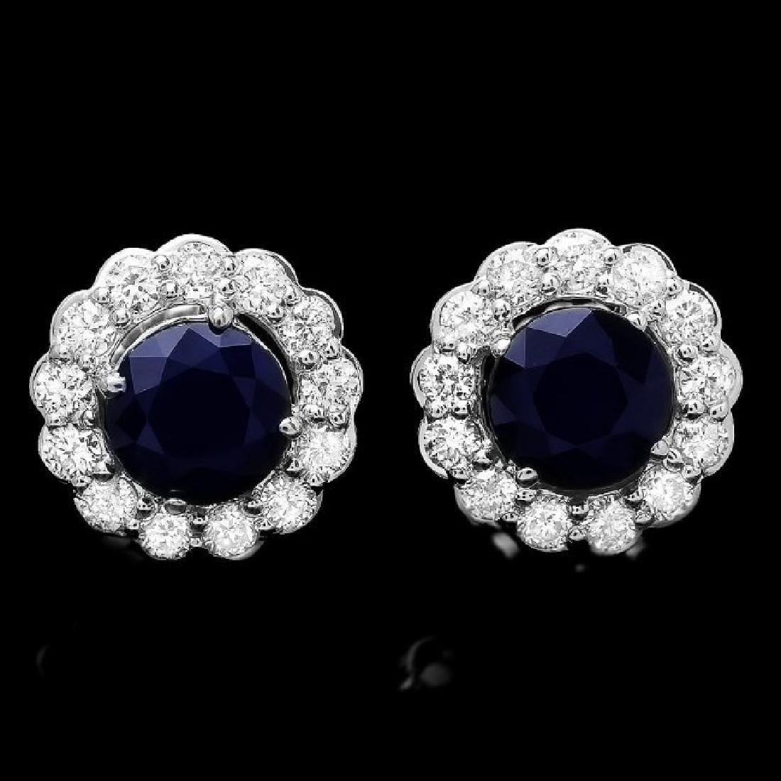 14k Gold 3.70ct Sapphire 1.5ct Diamond Earrings - 2