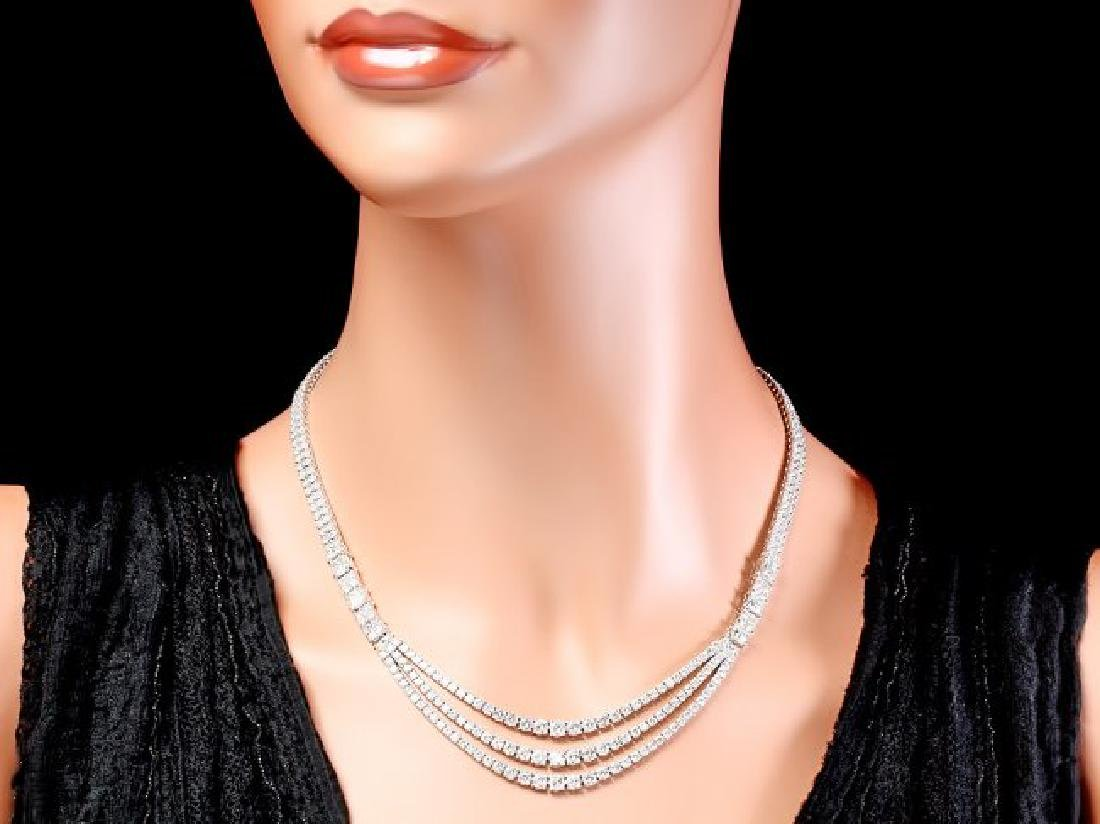 18k White Gold 23ct Diamond Necklace - 4