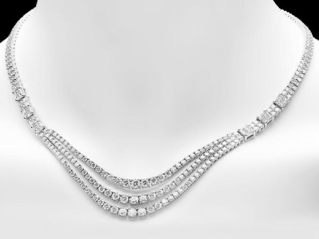18k White Gold 23ct Diamond Necklace - 5