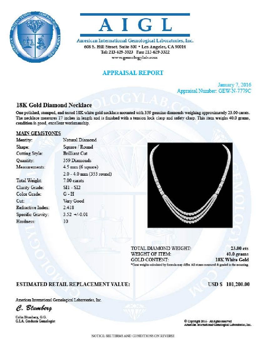 18k White Gold 23ct Diamond Necklace - 7