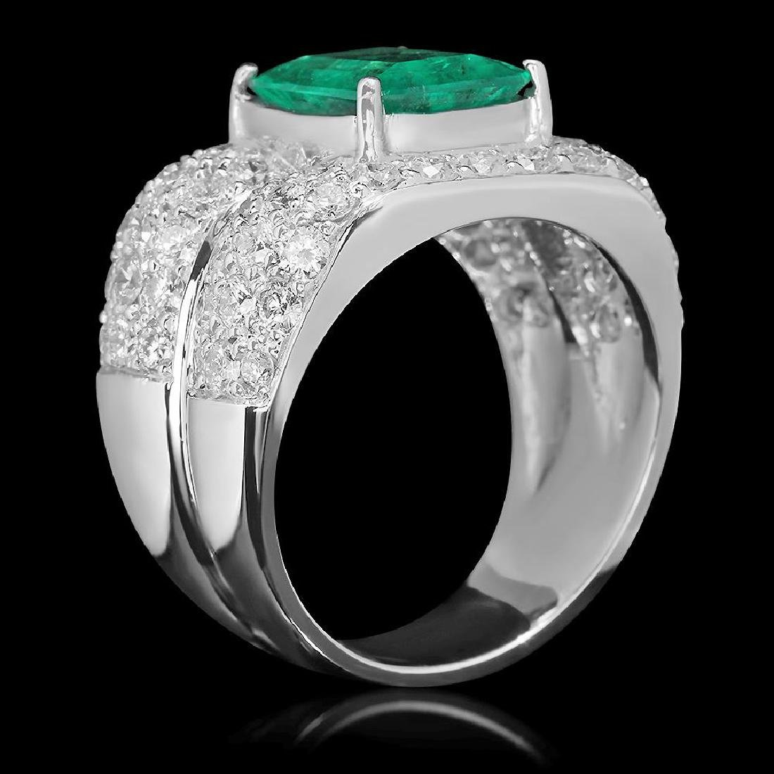 14K Gold 3.45 Emerald 3.68 Diamond Ring - 2