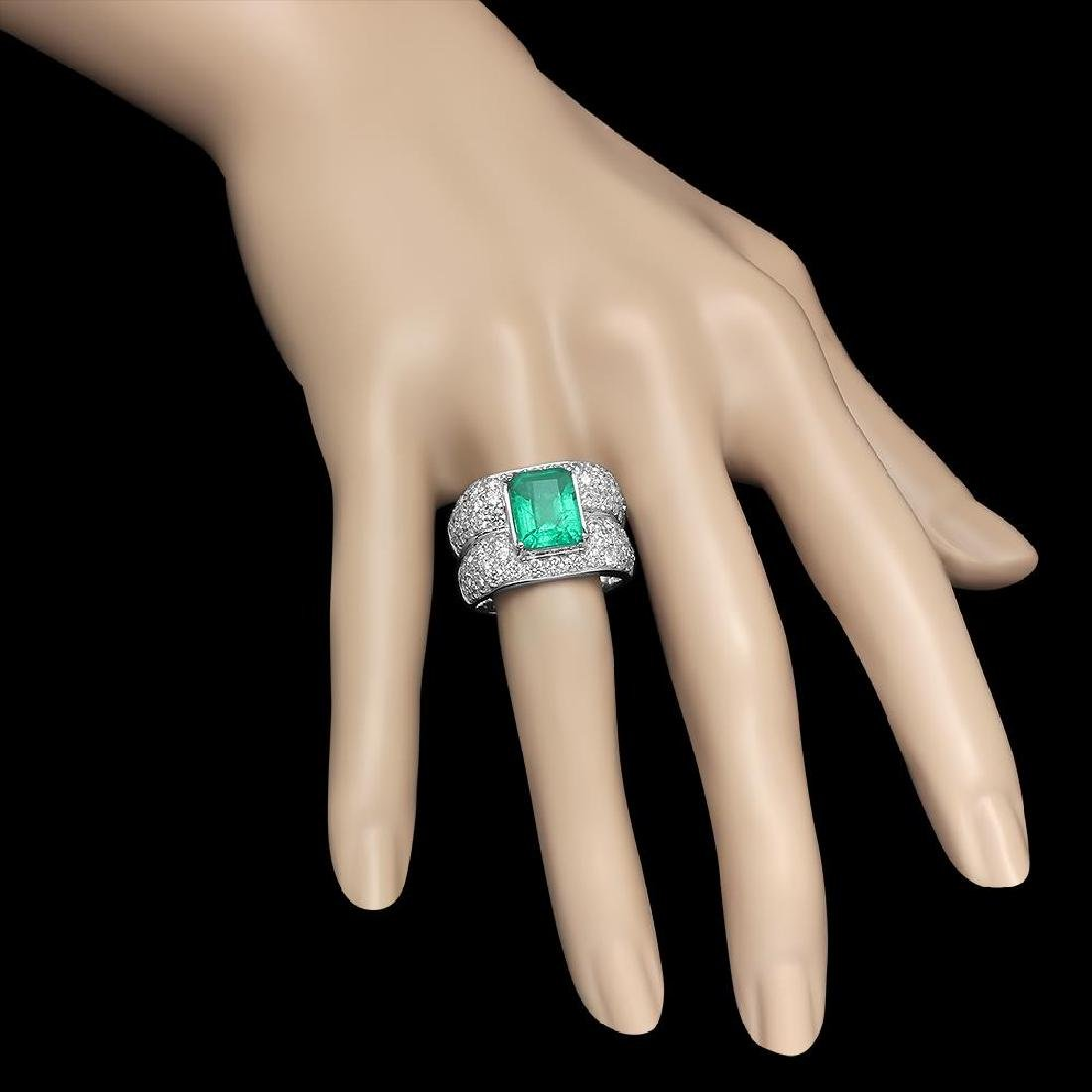 14K Gold 3.45 Emerald 3.68 Diamond Ring - 3