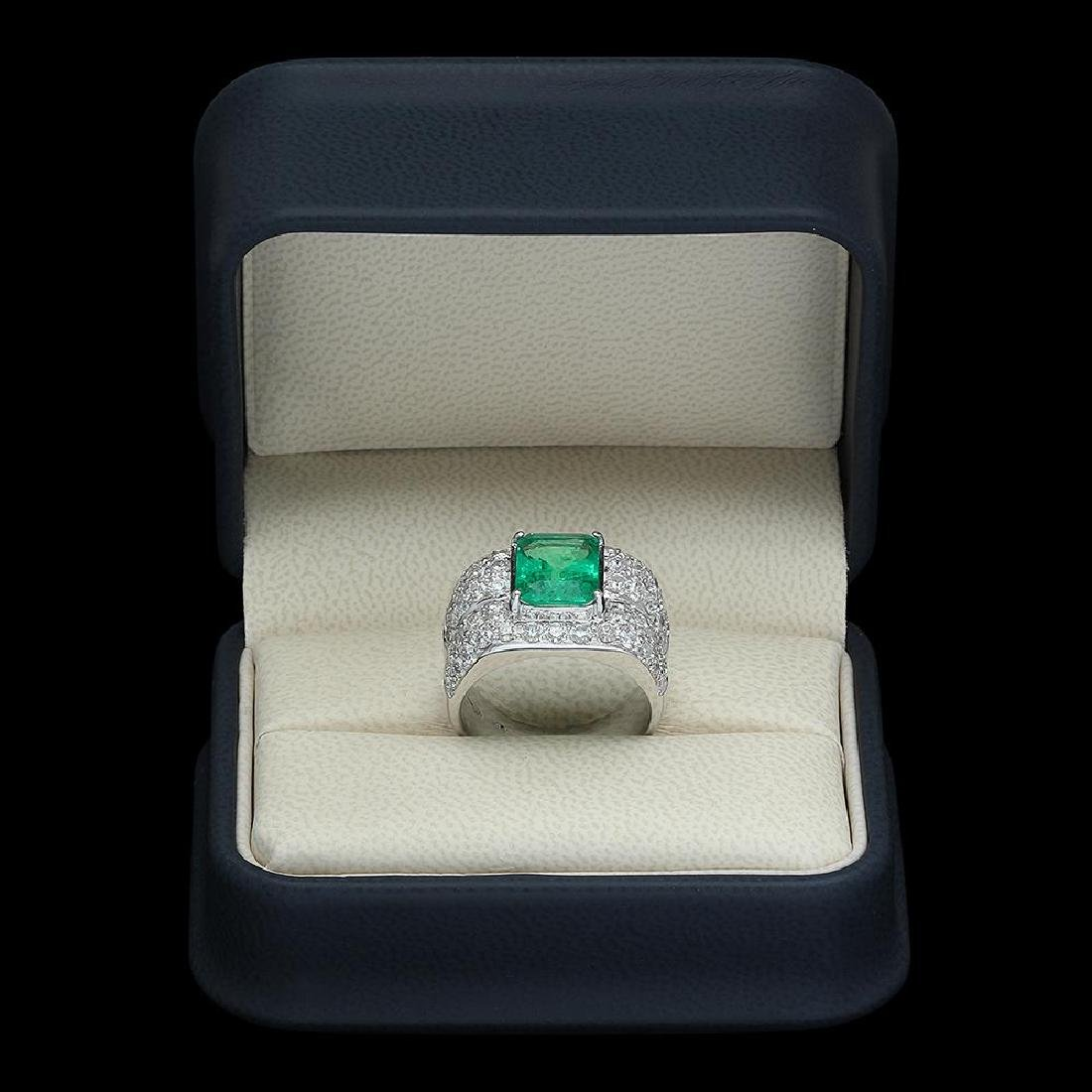 14K Gold 3.45 Emerald 3.68 Diamond Ring - 4