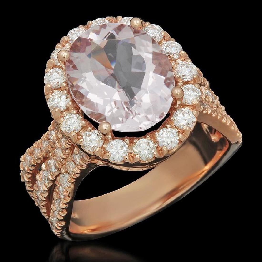 14K Gold 8.3ct Morganite 1.40ct Diamond Ring
