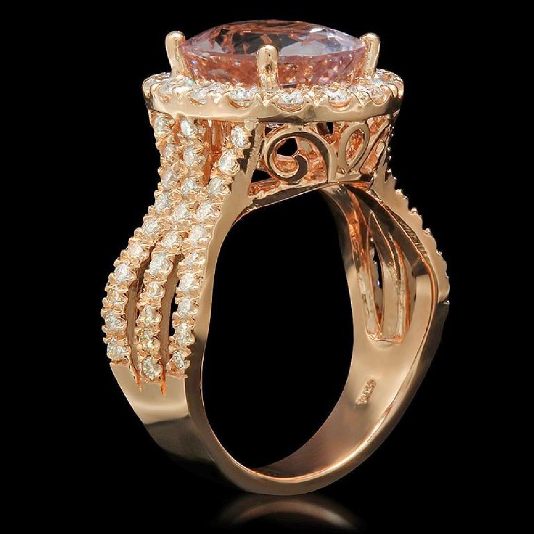 14K Gold 8.3ct Morganite 1.40ct Diamond Ring - 2
