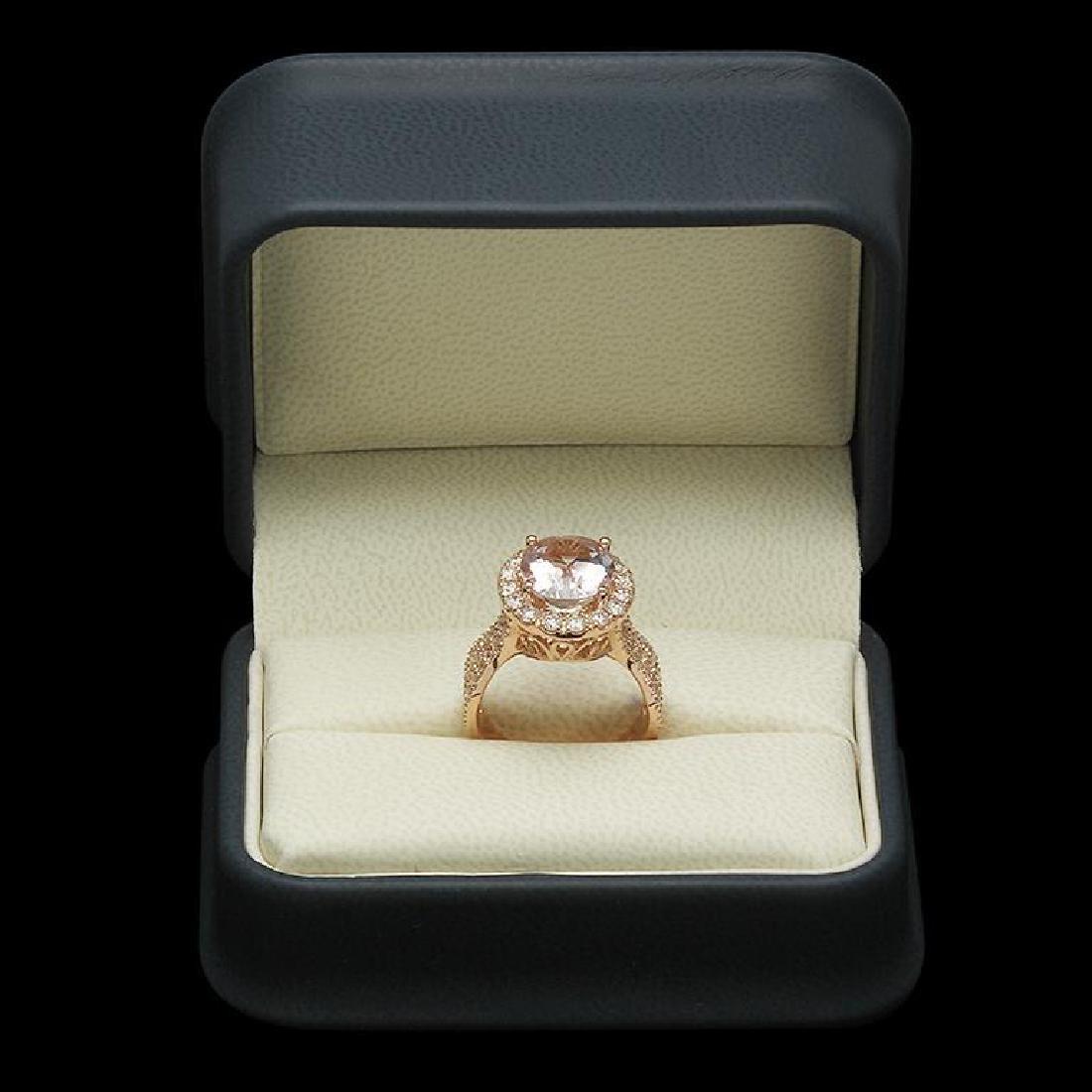 14K Gold 8.3ct Morganite 1.40ct Diamond Ring - 3