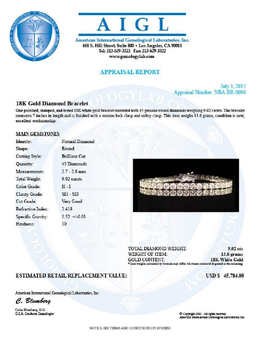 18K Gold 9.02ct Diamond Bracelet - 4