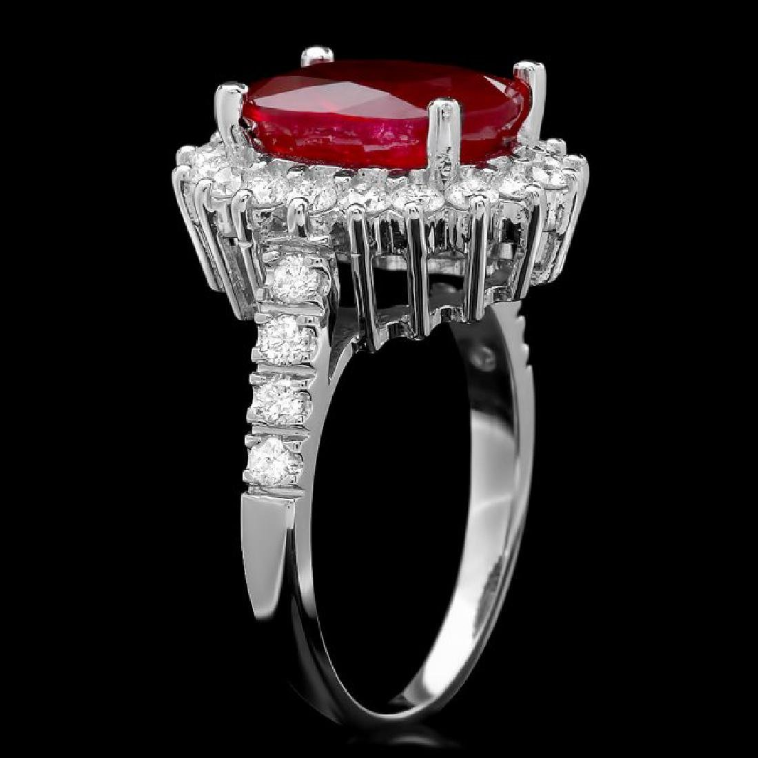 14k White Gold 4.50ct Ruby 0.90ct Diamond Ring - 2
