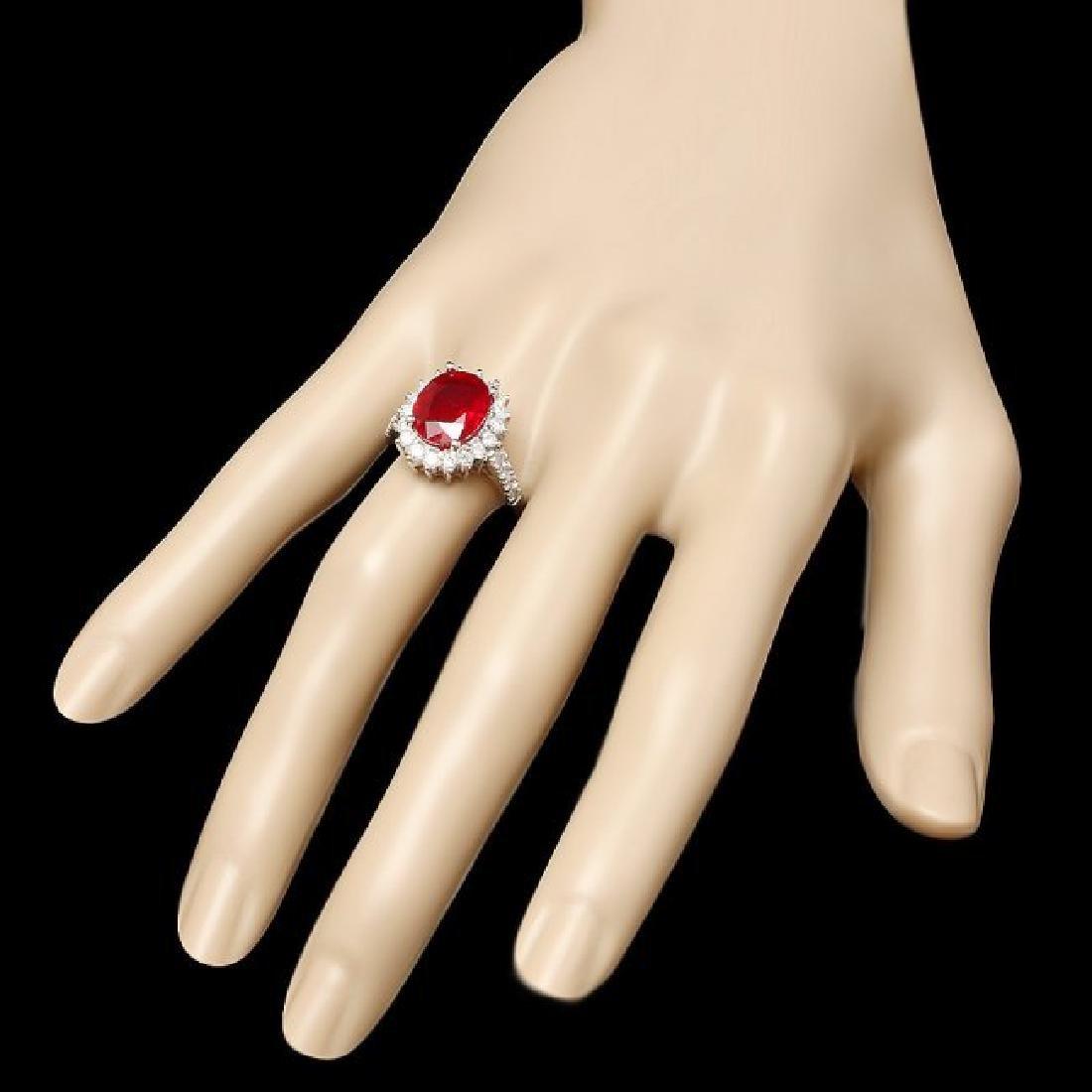 14k White Gold 4.50ct Ruby 0.90ct Diamond Ring - 3