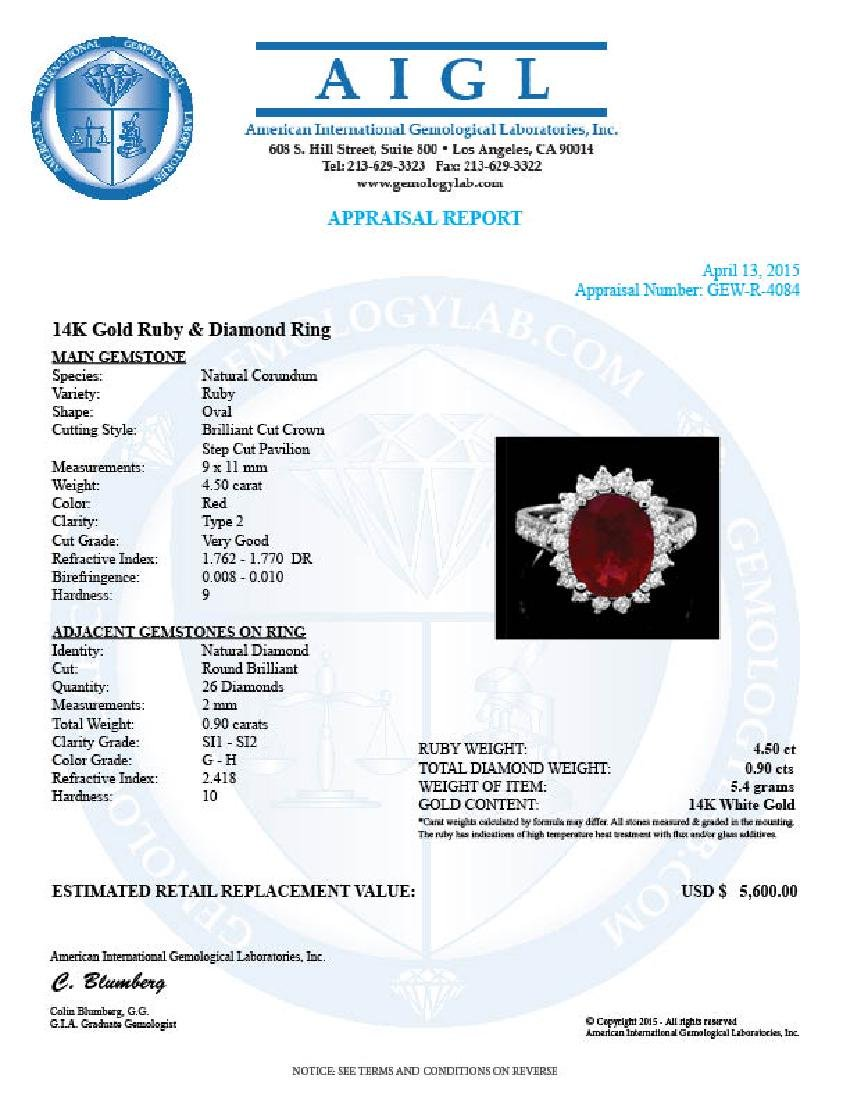 14k White Gold 4.50ct Ruby 0.90ct Diamond Ring - 4
