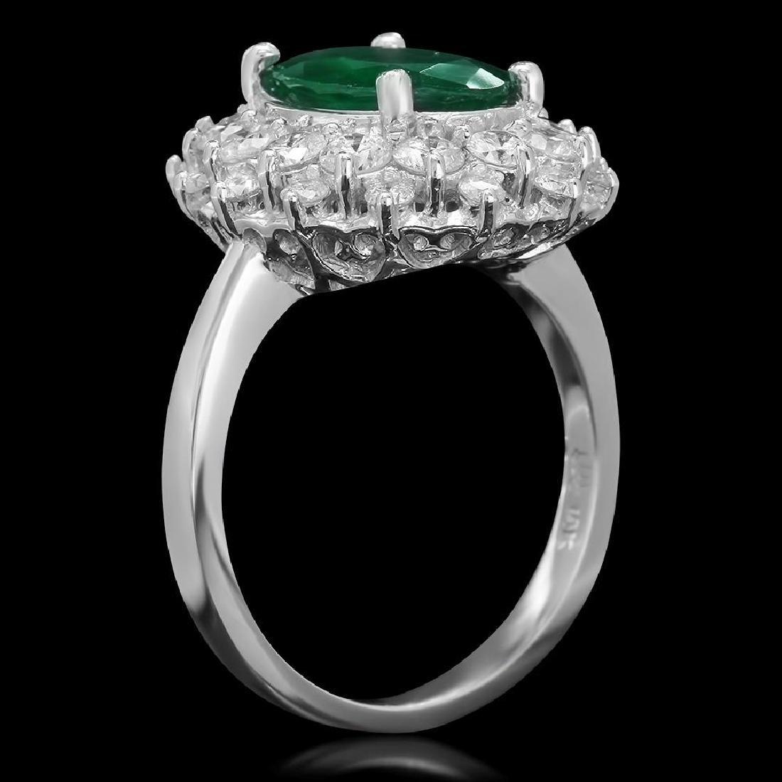 14K Gold 2.08ct Emerald 1.59ct Diamond Ring - 2