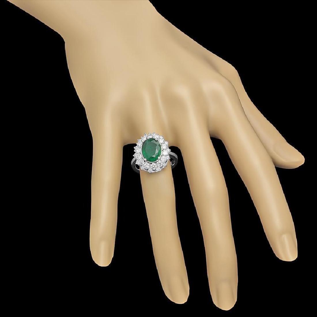 14K Gold 2.08ct Emerald 1.59ct Diamond Ring - 3