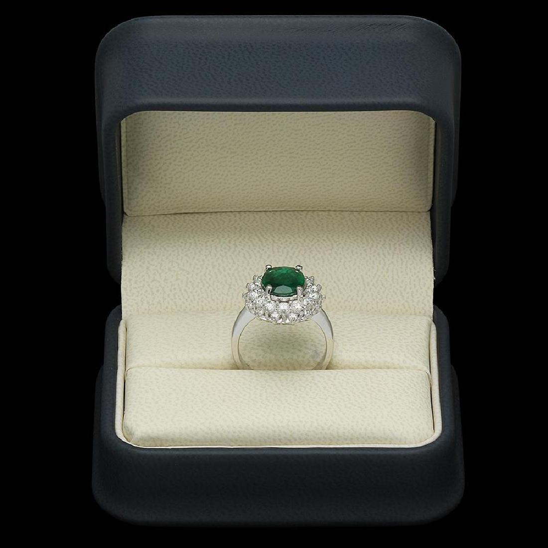 14K Gold 2.08ct Emerald 1.59ct Diamond Ring - 4