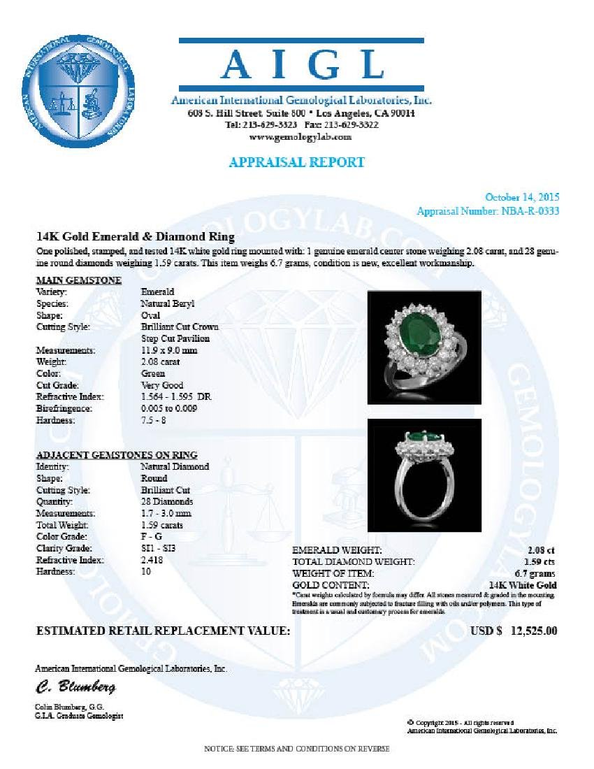 14K Gold 2.08ct Emerald 1.59ct Diamond Ring - 5