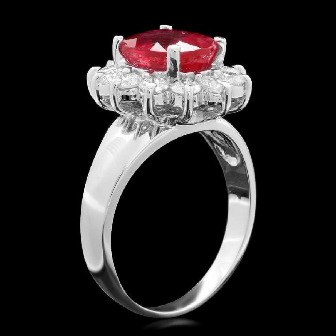 14k White Gold 3.50ct Ruby 1.00ct Diamond Ring - 2