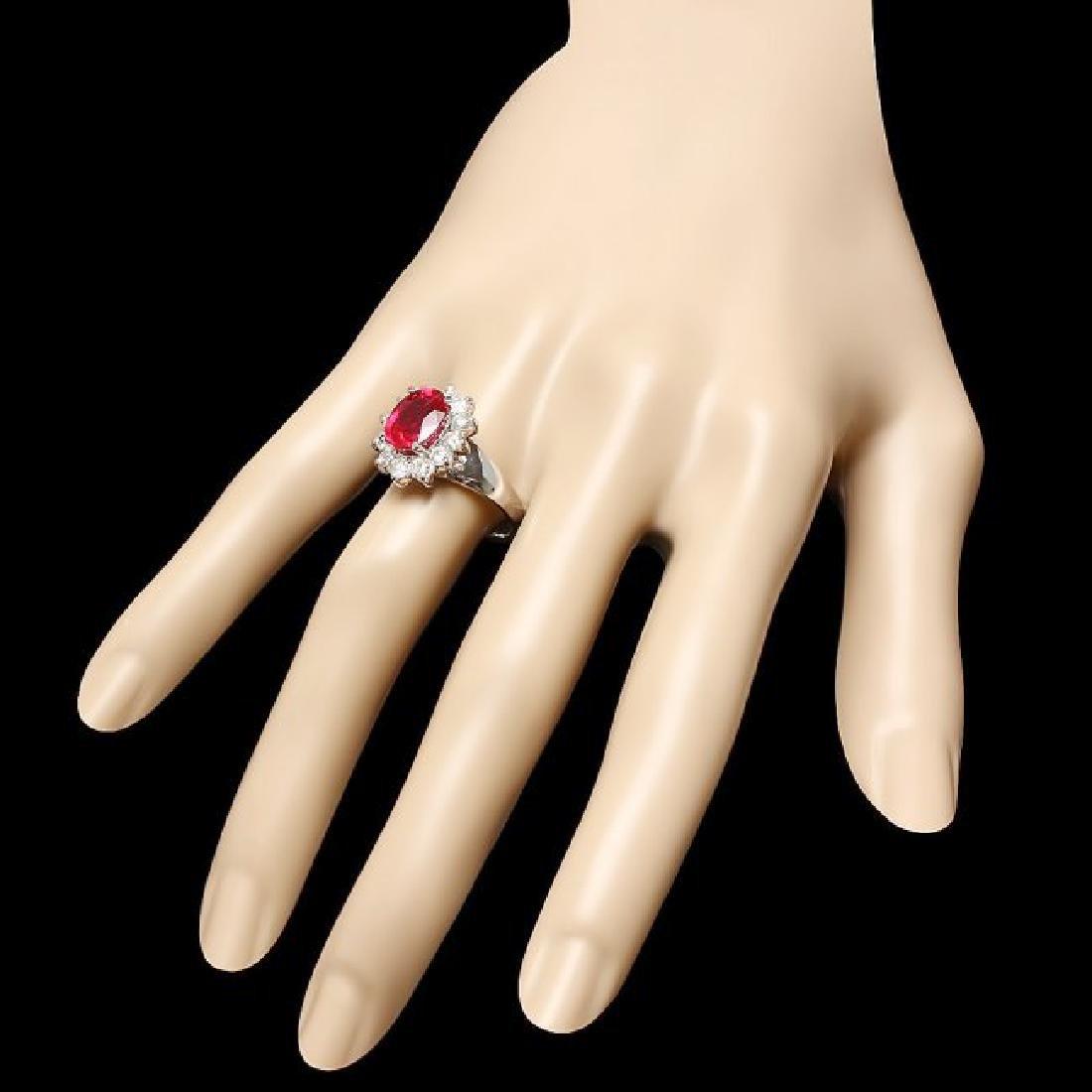 14k White Gold 3.50ct Ruby 1.00ct Diamond Ring - 3