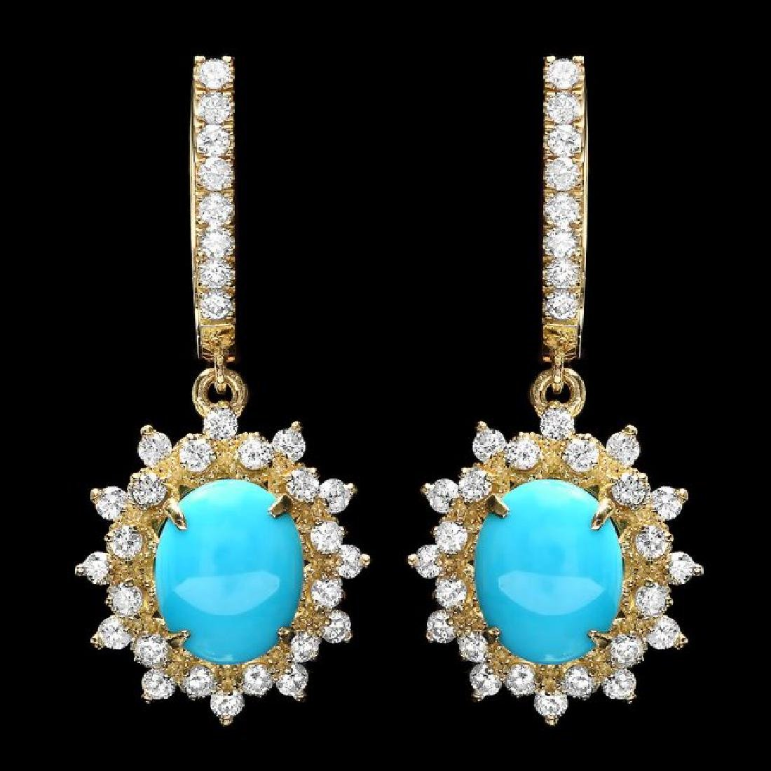 14k Gold 4.00ct Turquoise 1.50ct Diamond Earrings