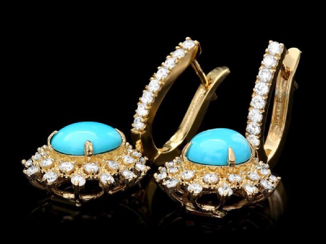 14k Gold 4.00ct Turquoise 1.50ct Diamond Earrings - 2