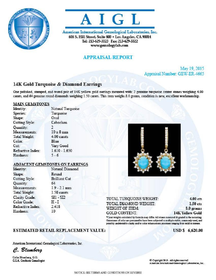 14k Gold 4.00ct Turquoise 1.50ct Diamond Earrings - 3