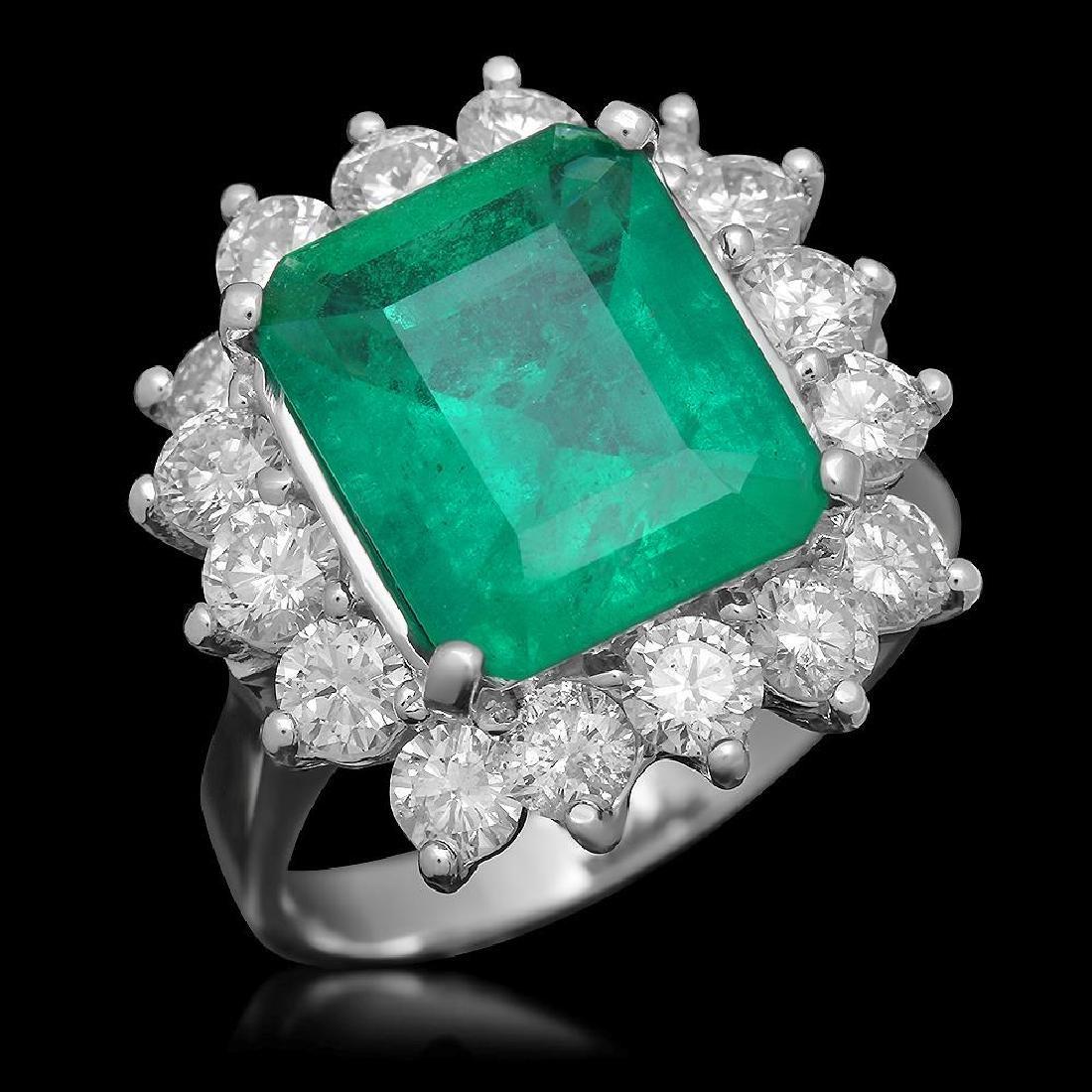 18K Gold 4.18 Emerald 2.00 Diamond Ring