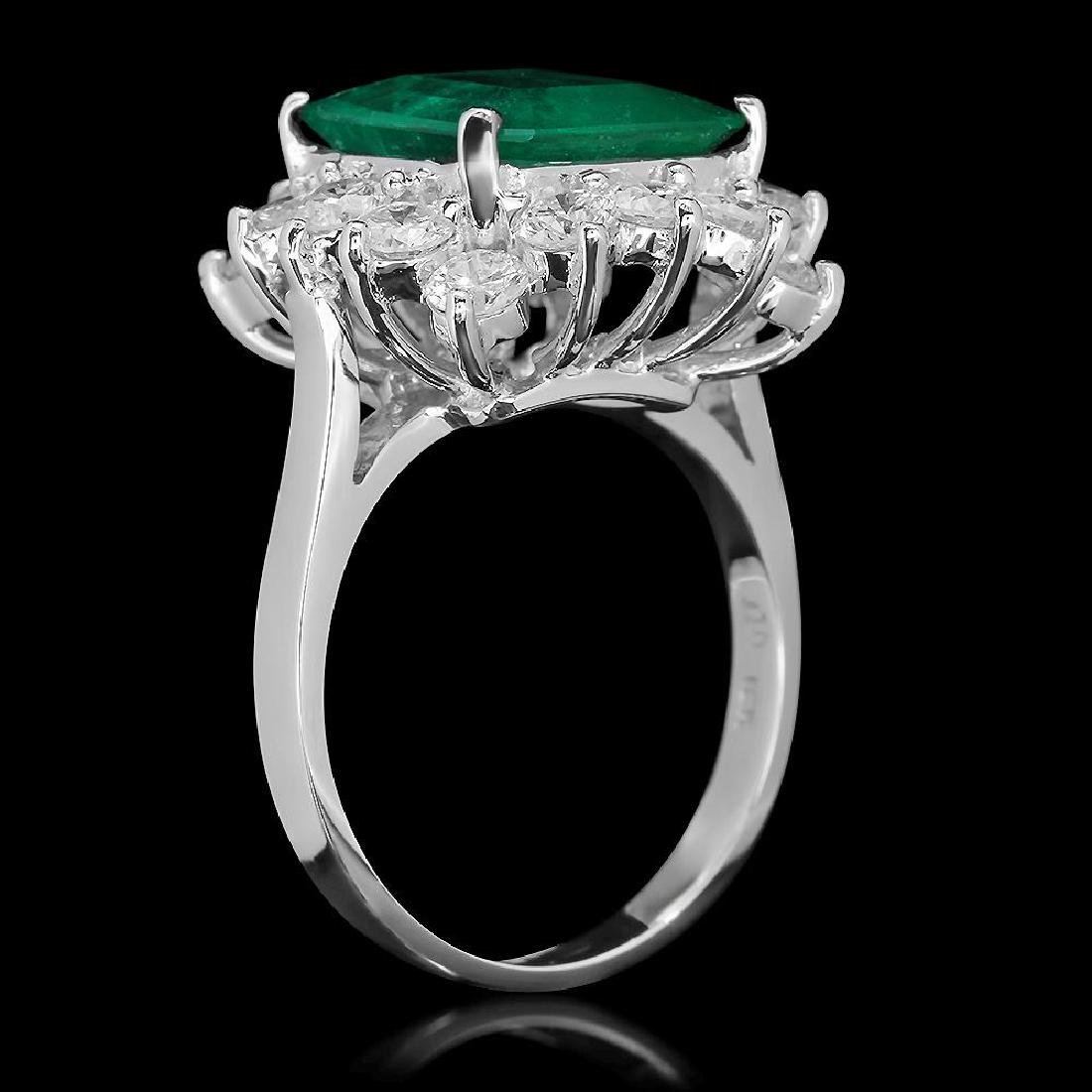 18K Gold 4.18 Emerald 2.00 Diamond Ring - 2