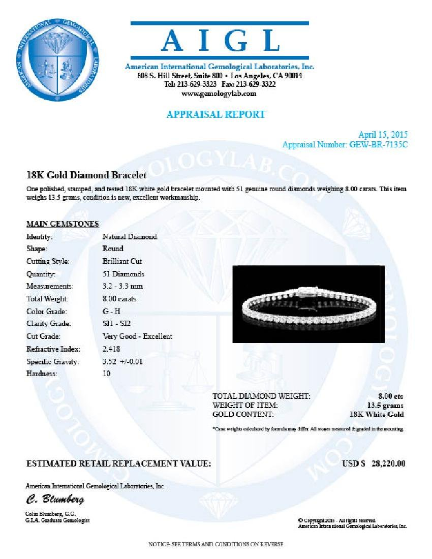 18k White Gold 8.00ct Diamond Bracelet - 6
