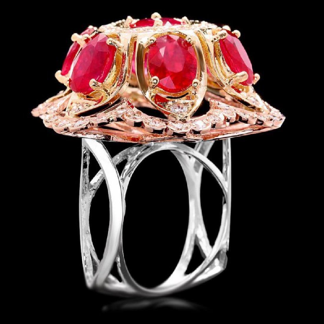 14k Gold 12.00ct Ruby 1.35ct Diamond Ring - 2