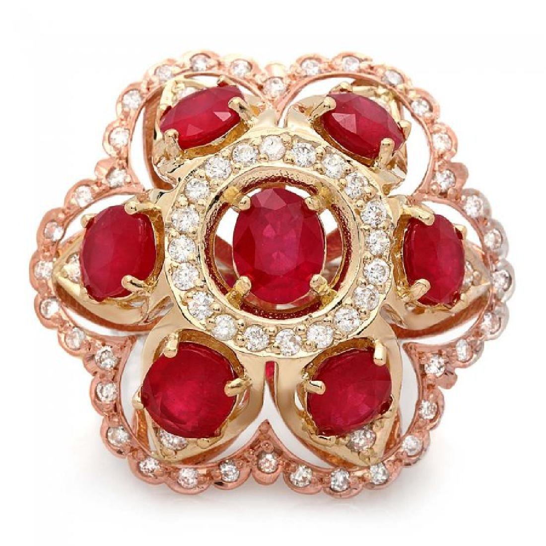 14k Gold 12.00ct Ruby 1.35ct Diamond Ring - 3