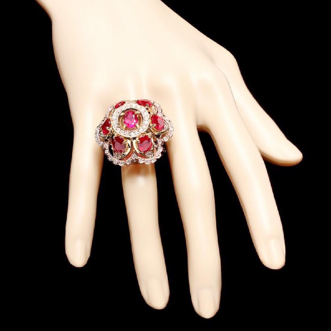 14k Gold 12.00ct Ruby 1.35ct Diamond Ring - 4