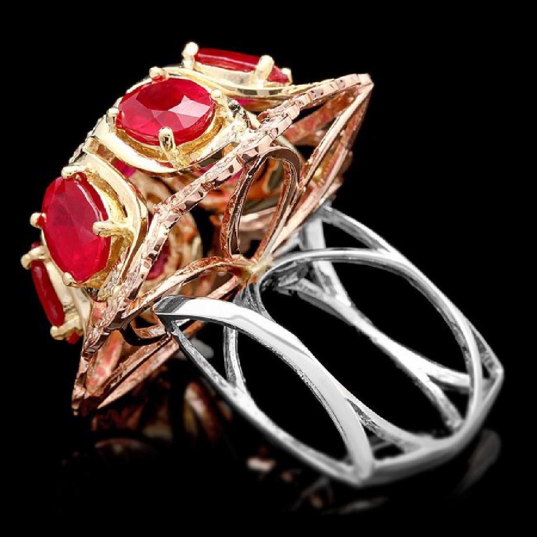 14k Gold 12.00ct Ruby 1.35ct Diamond Ring - 5