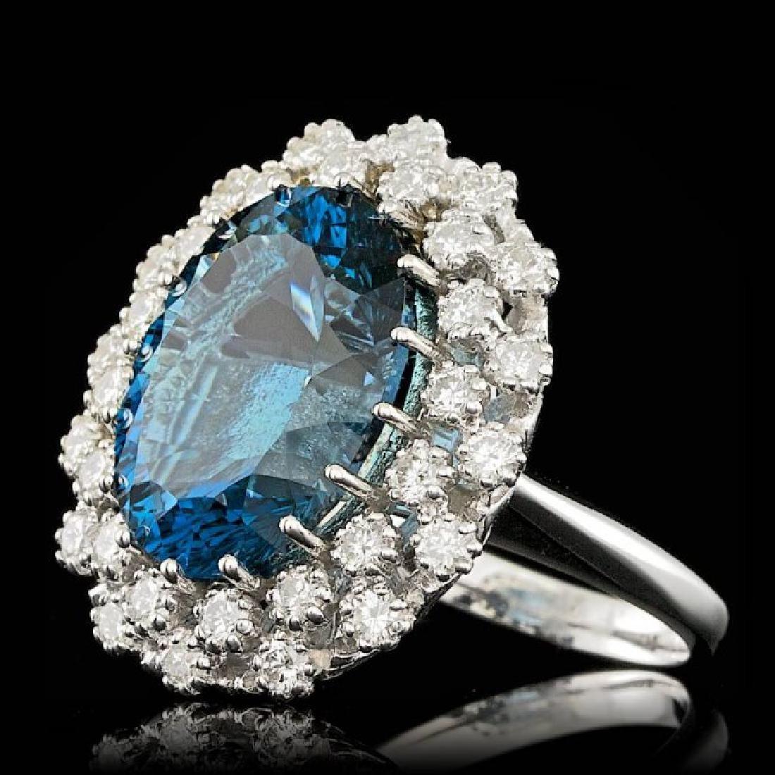 14k White Gold 11.50ct Topaz 1.50ct Diamond Ring - 2