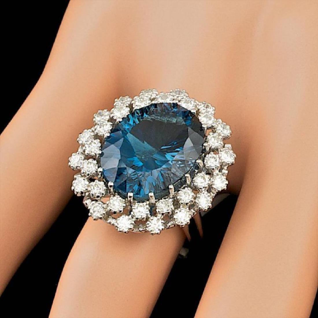 14k White Gold 11.50ct Topaz 1.50ct Diamond Ring - 4