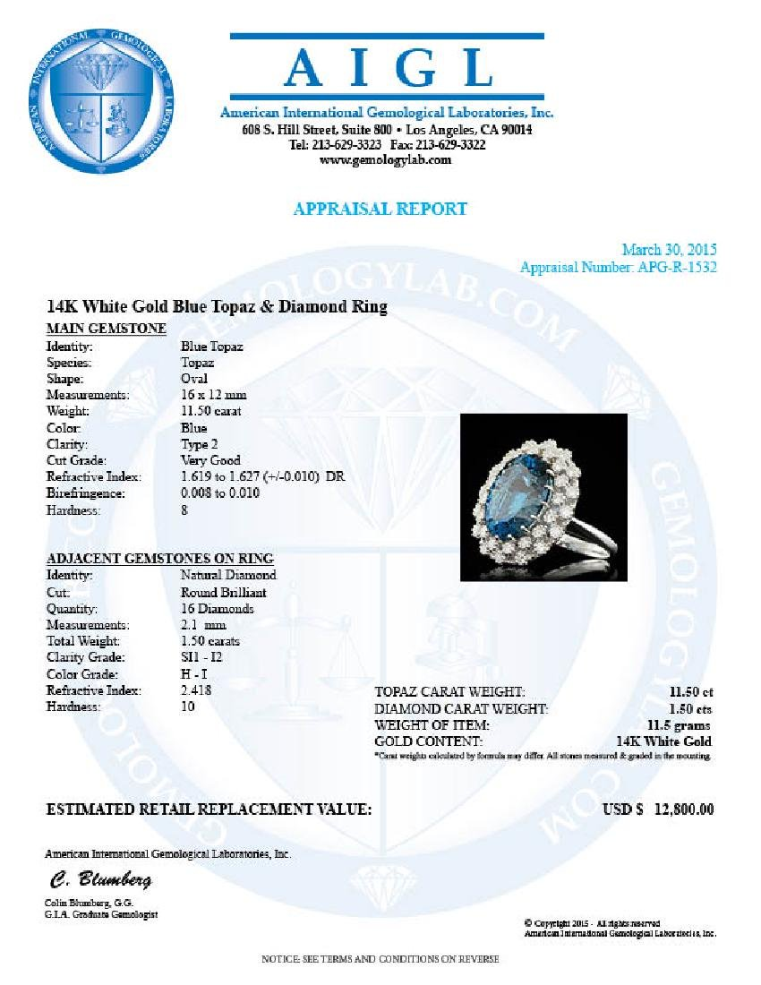 14k White Gold 11.50ct Topaz 1.50ct Diamond Ring - 5