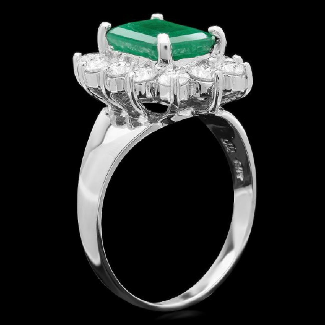 14k White Gold 2.50ct Emerald 1.20ct Diamond Ring - 2