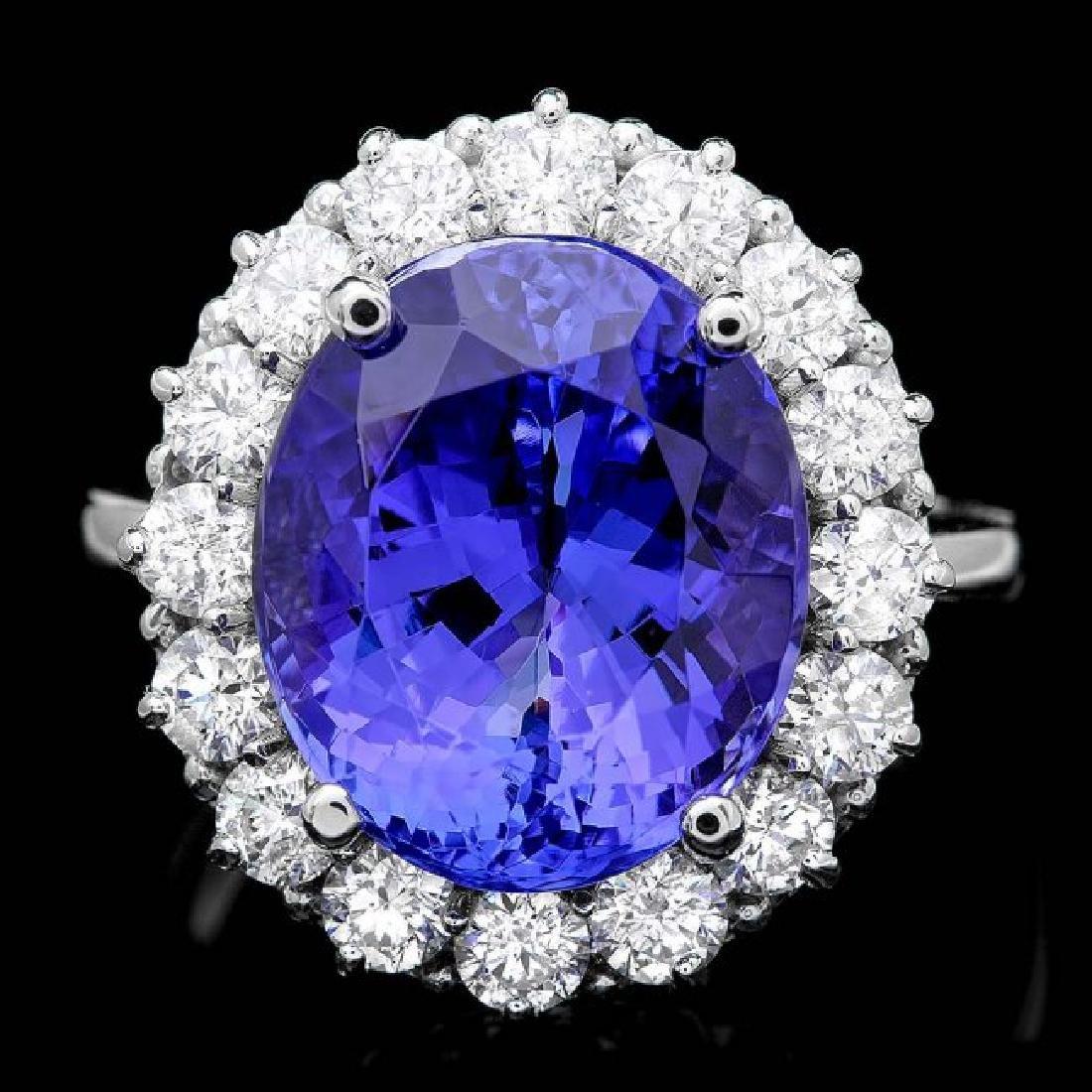 14k Gold 9.50ct Tanzanite 1.55ct Diamond Ring