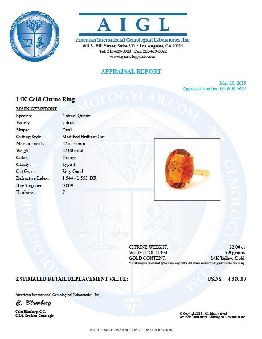14k Yellow Gold 22.00ct Citrine Ring - 5