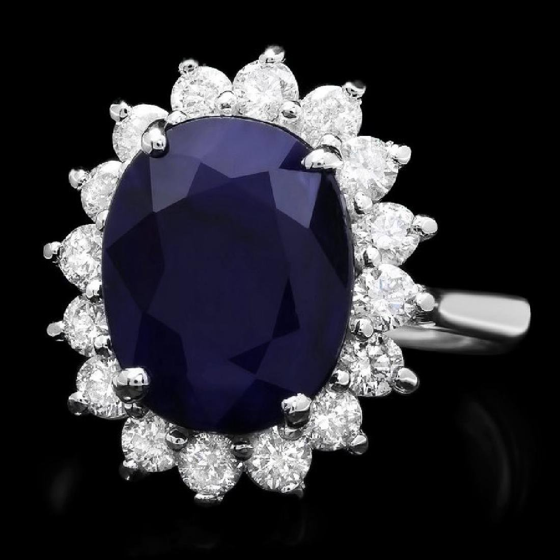 14k Gold 5.52ct Sapphire 0.90ct Diamond Ring